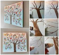 >button tree canvas wall art