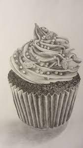 cupcake pencil drawing. Brilliant Cupcake Graphite Pencil Tonal Drawing Iced Cupcake In Cupcake Pencil Drawing C