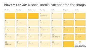 November November Calendar Your November Social Media Calendar 2018 Creativeworld