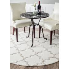 lounge room with elegant round white modern polypropylene trellis area rug living moroccan rugs for minimalist decor beautiful interior floor at