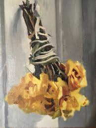 saatchi art artist dorian allworthy painting yellow roses with string and