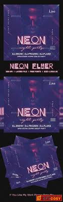 Neon Party Flyer 23147249 Free Download Photoshop Vector