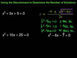using discriminants to determine the number of real solutions to quadratic equations