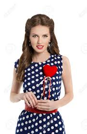 Pin Ups Hair Style woman in polka dot dress with heart retro girl pin up hair style 7272 by wearticles.com
