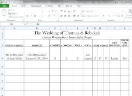 Wedding Guest List Template Excel Download Wedding Guest Address Template