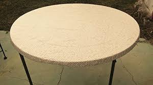 fitted round elastic edge mosaic vinyl tablecloth table cover fits 36 to 48 gold