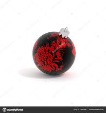 Christbaumschmuck Kugel Blume Rot Schwarz Isoliert 3d Jpg