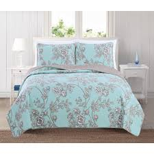 Sharon Collection 3-Piece Quilt with Shams | Great Bay Home & Sharon Collection 3-Piece Printed Microfiber Quilt Set with Shams Adamdwight.com