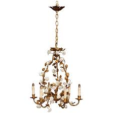 early 20th century french six light chandelier with porcelain flowers and leaves country french interiors