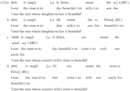 The man who is swimming in the lake is my father. Anzeige Von The Adjectival Relative Construction In Egyptian Arabic Linguistik Online