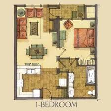 Floor Plan One Bedroom House Plans, Tiny House Plans, Condo Floor Plans,  Bedroom