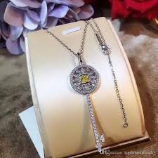 whole s925 sterling silver big and small pendant necklace with hollow and yellow diamond key pendant and diamond jewelry for women wedding gift ps long