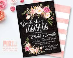 Design Grad Party Invites Boho Graduation Luncheon Invitation Floral Chalkboard