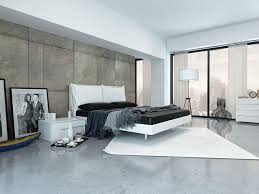 minimalist bedroom furniture. This Is About As Modern You Can Get It. Room Has A Beautiful Concrete Floor With Very Elegant Area Rug. Behind The Bed Large Paneled Wall, Minimalist Bedroom Furniture