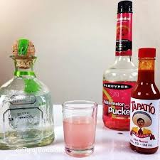 the mexican candy shot 1 2 oz 15ml tequila 1 oz 30ml watermelon pucker 2 dashes of hot sauce tequila shot l