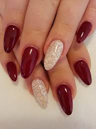 Burgundy Nails With White Glitter This Is Something I Am Definitely