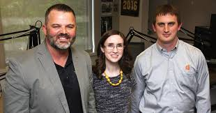 from left brad garrard a senior director of engineering and technology at j b hunt transport services inc in lowell meredith lowry an intellectual