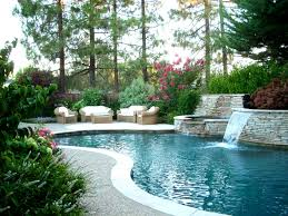 Outdoor:A Swimming Pool With Clear Water And Plants As Well As Flowers And  Then
