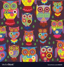 Owl Pattern Best Cartoon Owl Pattern Dark Background Royalty Free Vector