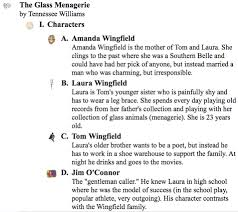 use these english examples to integrate into your literary analysis outline the glass menagerie by tennessee williams