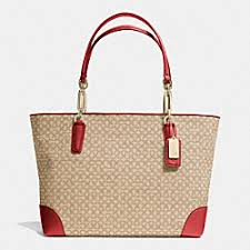 MSRP  258 - SALE  77 · MADISON OP ART NEEDLEPOINT FABRIC EAST WEST TOTE -  f26806 - LIGHT GOLD KHAKI · COACH f75138