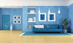 Blue Sofa Contemporary Living Room With Blue Sofa And Door Rendering The