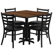 laminate table set walnut table w black vinyl ladderback chair