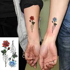 водонепроницаемая временная татуировка наклейки красный синий роза