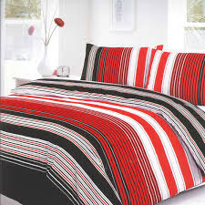 villa stripe red duvet set expand