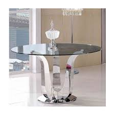 china modern stainless steel round clear glass top dining table china round dining table metal base dining table