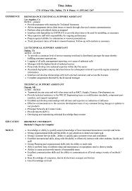 Technical Support Assistant Resume Samples Velvet Jobs