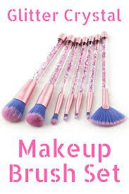 super cute rose gold glitter crystal makeup brush set contour brush concealer brush