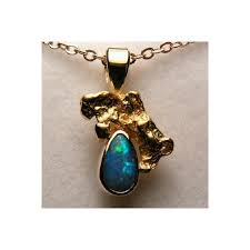 genuine australian opal pendant for natural opal with solid gold nugget pendant