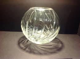 crystal rose bowl vintage centerpiece round vase cut glass waterford pink