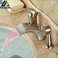 deck mount bath tub faucets brushed nickel led 3 color changing waterfall bath tub faucet taps deck mount bath tub faucets
