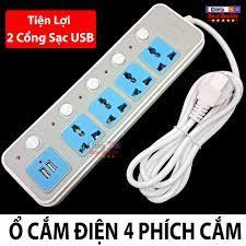 Ổ Cắm Điện Đa Năng 4 Phích Cắm 3 Chấu - 2 Cổng Sạc USB Tiện Lợi B14