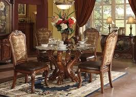 dresden cherry oak glass round dining table set