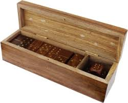 Wooden Box Board Games RoyaltyLane Handmade Wooden Dominoes Set and Five Dice in Game 86
