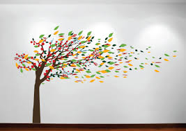blowing tree cherry blossom pic of large tree wall decal