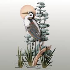 great blue heron wall sculpture inside most recently released heron metal wall art view 8