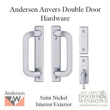 andersen frenchwood gliding door trim hardware anvers 4 panel interior and exterior satin nickel