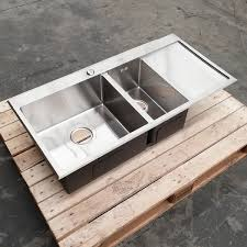 stainless steel kitchen sink top mount laundry handmade double bowl with drain board