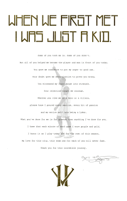 Scanned Kobe Bryant Retirement Letter Passed Out At The 11 29 Game