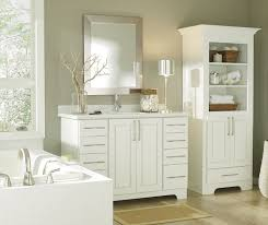 white bathroom cabinets.  Cabinets Casual White Bathroom Cabinets By Diamond Cabinetry In White Bathroom Cabinets