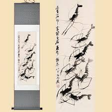 chinese silk watercolor ink qi baishi prawn shrimp original feng s art wall picture damask framed