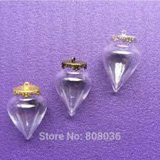 100pcs 38x25mm heart shape glass bubble bottle pendant with flat crown tray hand blown glass orb blown glass bottle pendant