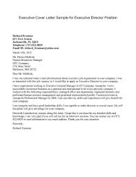 Sample Of Best Cover Letter Executive Cover Letter Sample For Executive Director Position Best