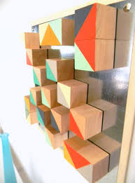 Modern Geometric Art Abstract Wood Blocks Triangle Chevron Turquoise Gold  Red. $88.00, via Etsy