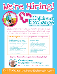 employment and careers the children s exchange of rochester mn see our job description ad