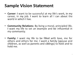 my vision statement sample self management project mgt 494 lecture recap step 3 write a vision